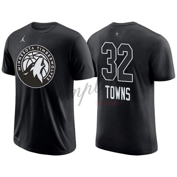Comprare Maglia NBA 2018 All Star Manica Corta NO.32 Karl Anthony Towns Nero