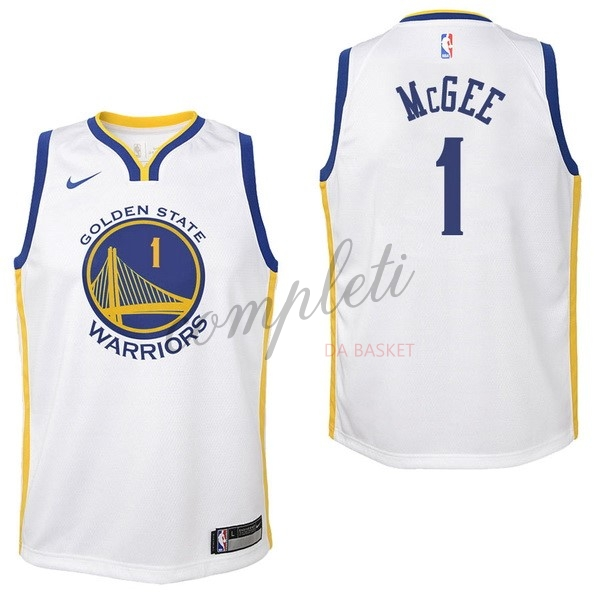Comprare Maglia NBA Bambino Golden State Warriors NO.1 JaVale McGee Bianco Association 2017-18