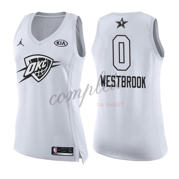 Comprare Maglia NBA Donna 2018 All Star NO.0 Russell Westbrook Bianco