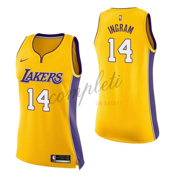 Comprare Maglia NBA Donna Los Angeles Lakers NO.14 Brandon Ingram Giallo Icon