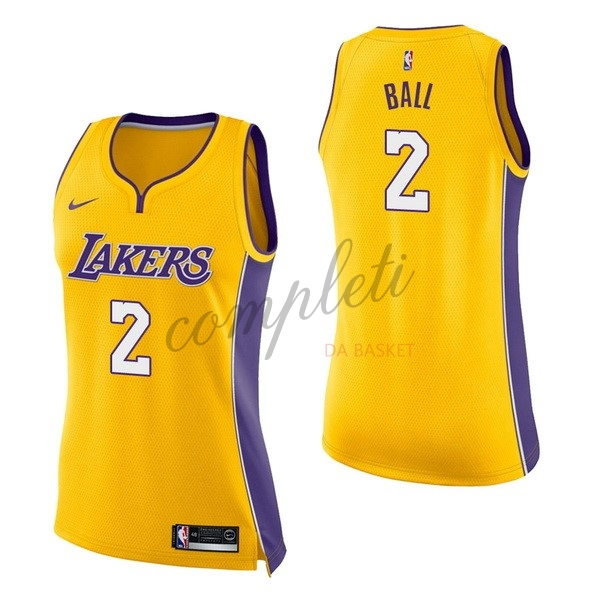 Comprare Maglia NBA Donna Los Angeles Lakers NO.2 Lonzo Ball Giallo Icon