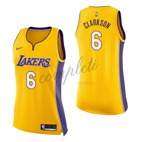 Comprare Maglia NBA Donna Los Angeles Lakers NO.6 Jordan Clarkson Giallo Icon