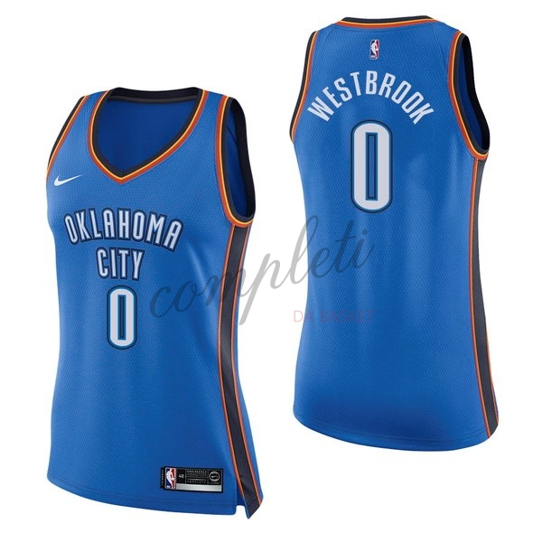Comprare Maglia NBA Donna Oklahoma City Thunder NO.0 Russell Westbrook Blu Icon