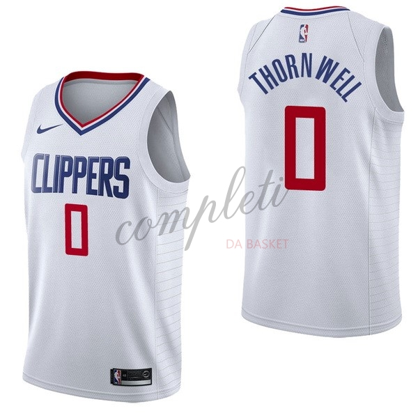Comprare Maglia NBA Nike Los Angeles Clippers NO.0 Sindarius Thornwell Bianco Association