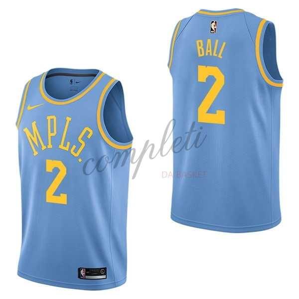 Comprare Maglia NBA Nike Los Angeles Lakers NO.2 Lonzo Ball Retro Blu