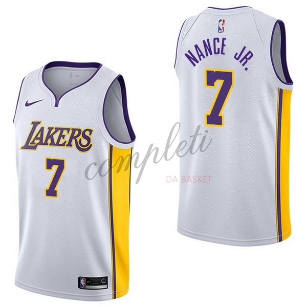 Comprare Maglia NBA Nike Los Angeles Lakers NO.7 Larry Nance Jr Bianco Association