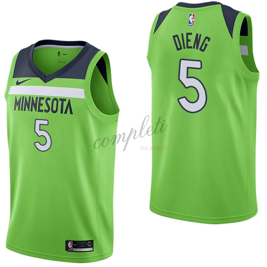 Comprare Maglia NBA Nike Minnesota Timberwolves NO.5 Gorgui Dieng Verde Statement
