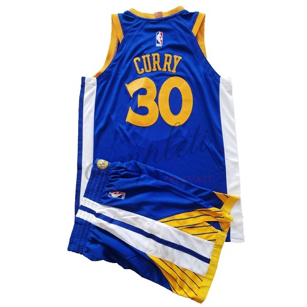 Comprare Maglia NBA Set Completo Bambino Golden State Warriors NO.30 Stephen Curry Blu 2017-18