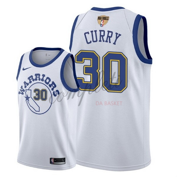 Comprare Maglia NBA Golden State Warriors 2018 Campionato Finali NO.30 Stephen Curry Retro Bianco