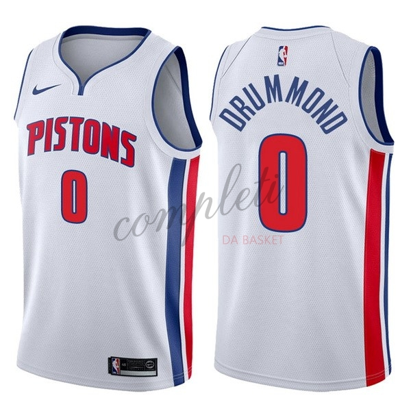 Comprare Maglia NBA Nike Detroit Pistons NO.0 Andre Drummond Bianco Association 2017-18