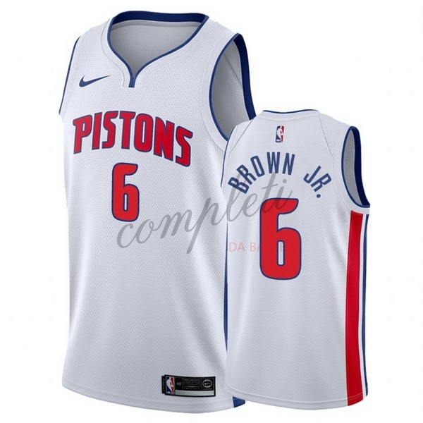 Comprare Maglia NBA Nike Detroit Pistons NO.6 Bruce Brown Jr Bianco Association 2017-18