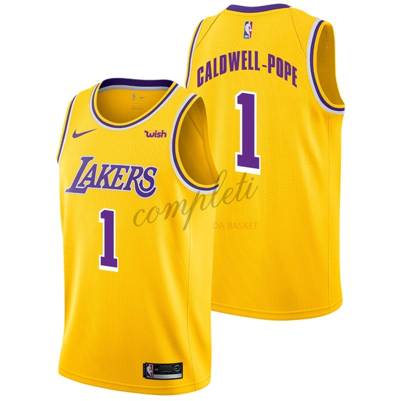 Comprare Maglia NBA Nike Los Angeles Lakers NO.1 Kentavious Caldwell Pope Giallo 2018-19