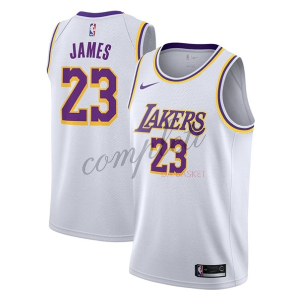 Comprare Maglia NBA Nike Los Angeles Lakers NO.23 Lebron James Bianco Association 2018-19
