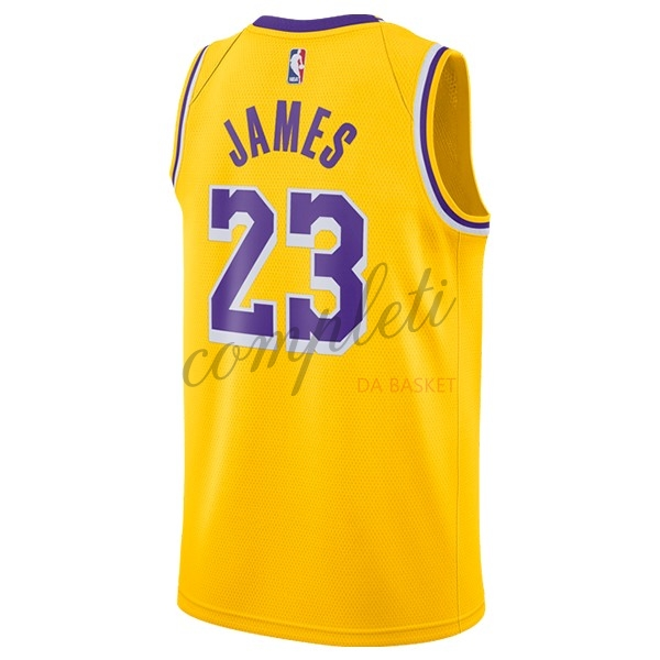 Comprare Maglia NBA Nike Los Angeles Lakers NO.23 Lebron James Giallo 2018-19