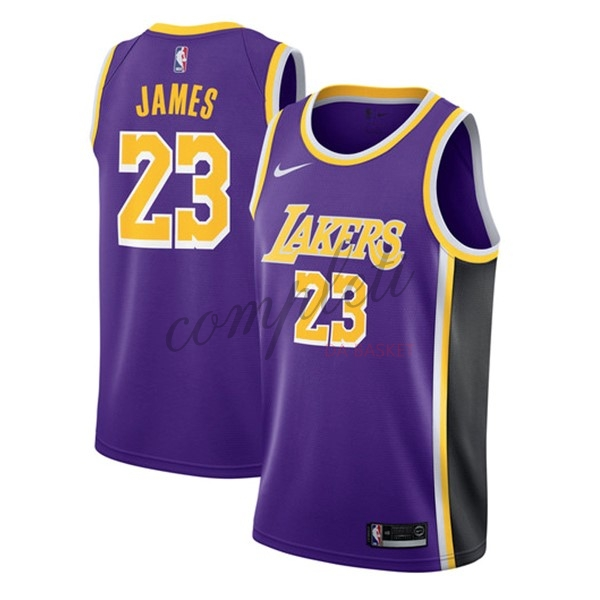 Comprare Maglia NBA Nike Los Angeles Lakers NO.23 Lebron James Porpora Statement 2018-19