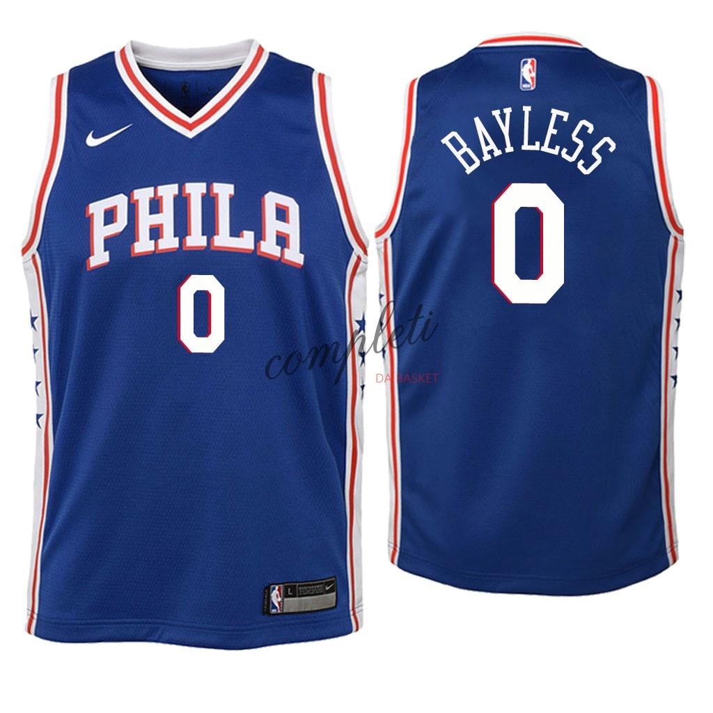 Comprare Maglia NBA Bambino Philadelphia Sixers NO.0 Jerryd Bayless Blu Icon 2018