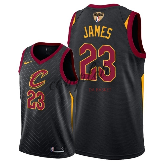 Comprare Maglia NBA Cleveland Cavaliers 2018 Campionato Finali NO.23 LeBron James Nero Statement Patch