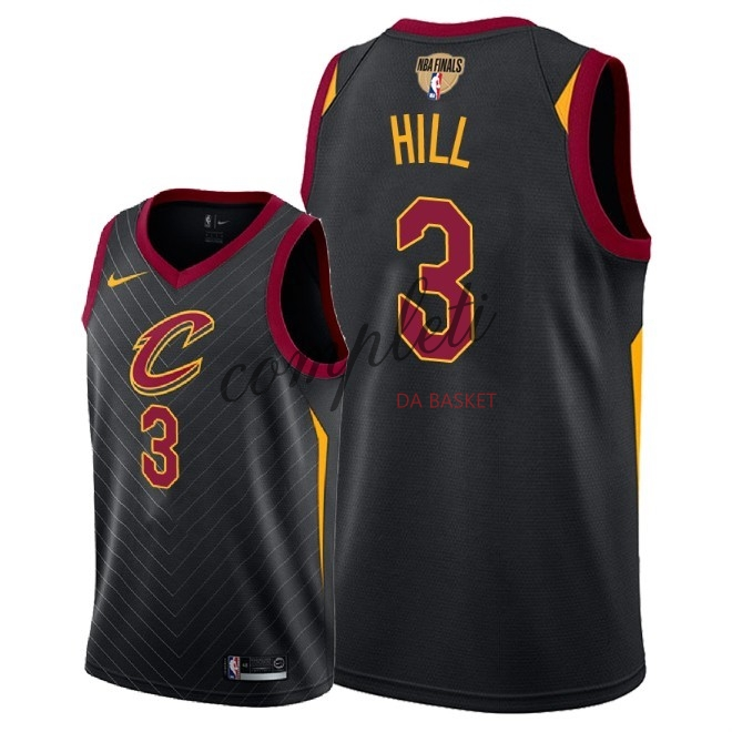 Comprare Maglia NBA Cleveland Cavaliers 2018 Campionato Finali NO.3 George Hill Nero Statement Patch