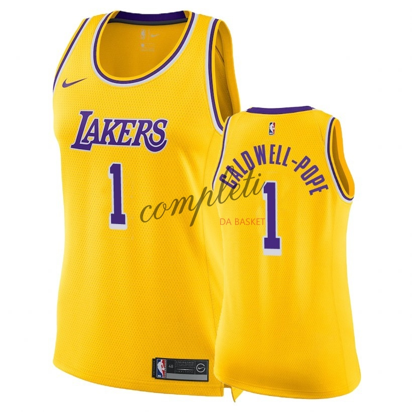 Comprare Maglia NBA Donna Los Angeles Lakers NO.1 Kentavious Caldwell Pope Giallo Icon 2018-19