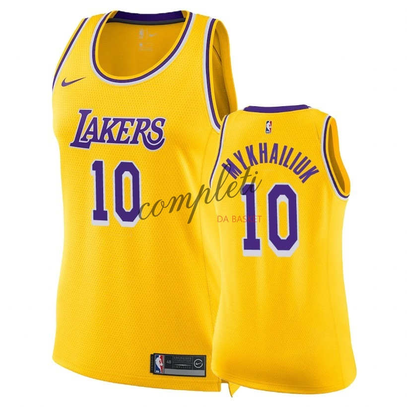 Comprare Maglia NBA Donna Los Angeles Lakers NO.10 Sviatoslav Mykhailiuk Giallo Icon 2018-19
