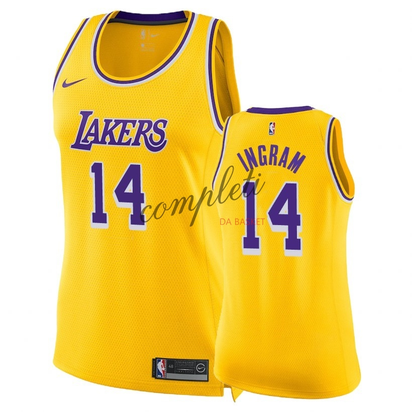 Comprare Maglia NBA Donna Los Angeles Lakers NO.14 Brandon Ingram Giallo Icon 2018-19