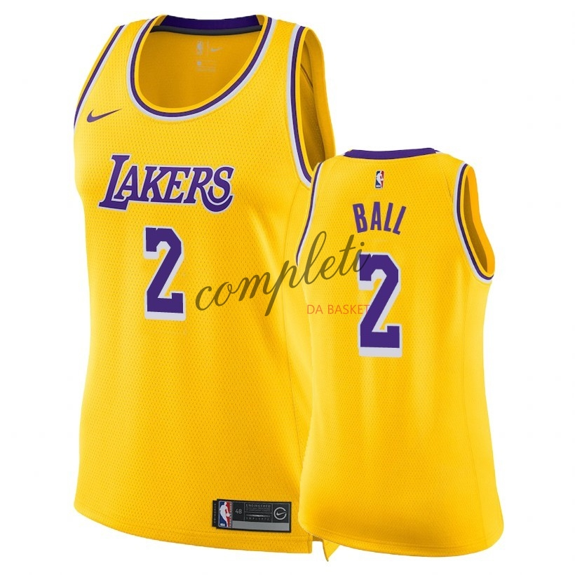 Comprare Maglia NBA Donna Los Angeles Lakers NO.2 Lonzo Ball Giallo Icon 2018-19