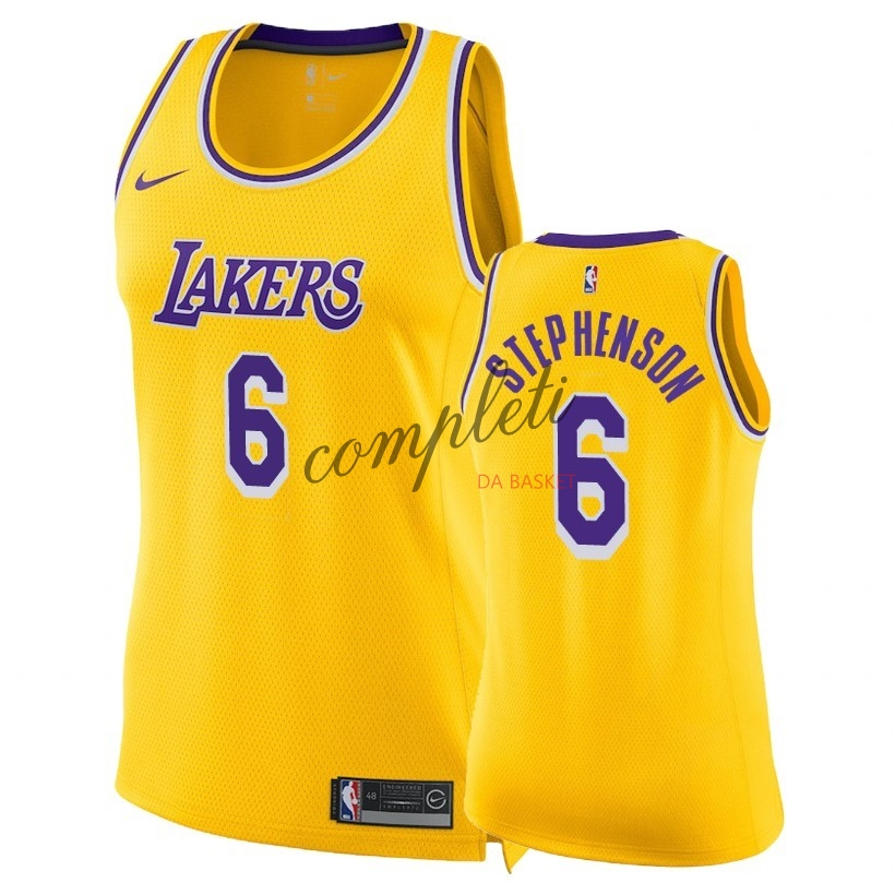 Comprare Maglia NBA Donna Los Angeles Lakers NO.6 Lance Stephenson Giallo Icon 2018-19