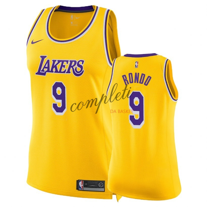 Comprare Maglia NBA Donna Los Angeles Lakers NO.9 Rajon Rondo Giallo Icon 2018-19