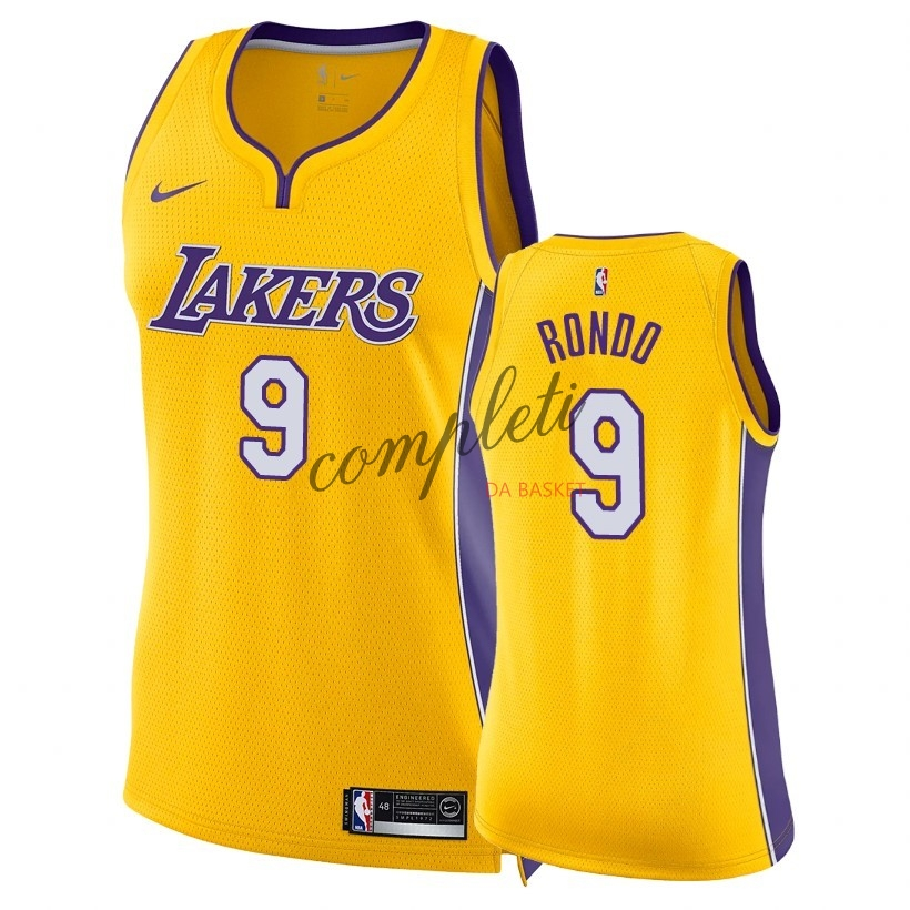 Comprare Maglia NBA Donna Los Angeles Lakers NO.9 Rajon Rondo Giallo Icon 2018