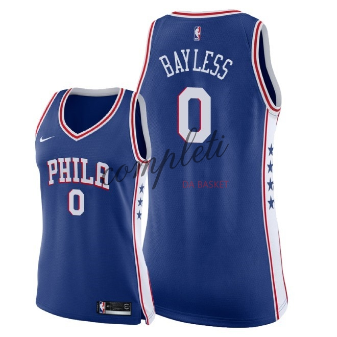 Comprare Maglia NBA Donna Philadelphia Sixers NO.0 Jerryd Bayless Blu Icon 2018