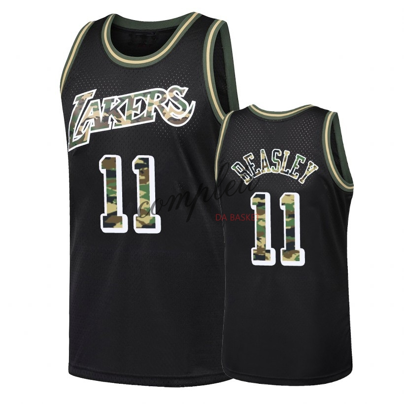 Comprare Maglia NBA Dritto Fire Camo Los Angeles Lakers NO.11 Michael Beasley Nero 2018