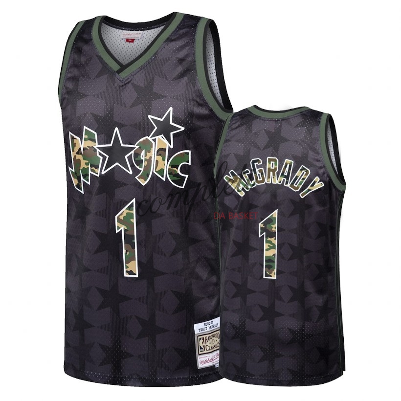 Comprare Maglia NBA Dritto Fire Camo Orlando Magic NO.1 Tracy McGrady Nero 2018