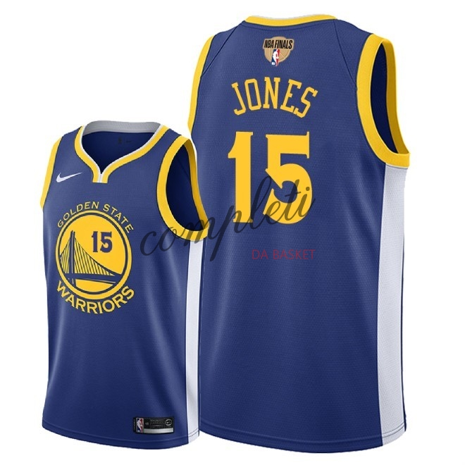 Comprare Maglia NBA Golden State Warriors 2018 Campionato Finali NO.15 Damian Jones Blu Icon Patch