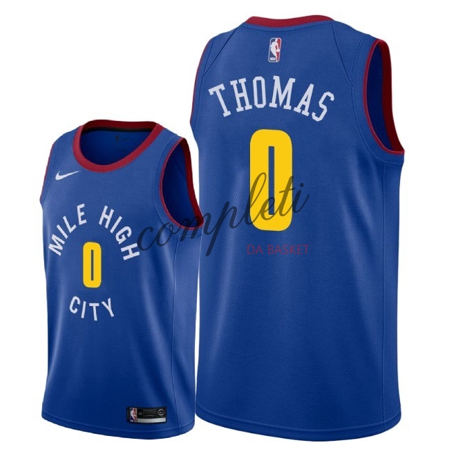 Comprare Maglia NBA Nike Denver Nuggets NO.0 Isaiah Thomas Blu Statement 2018-19