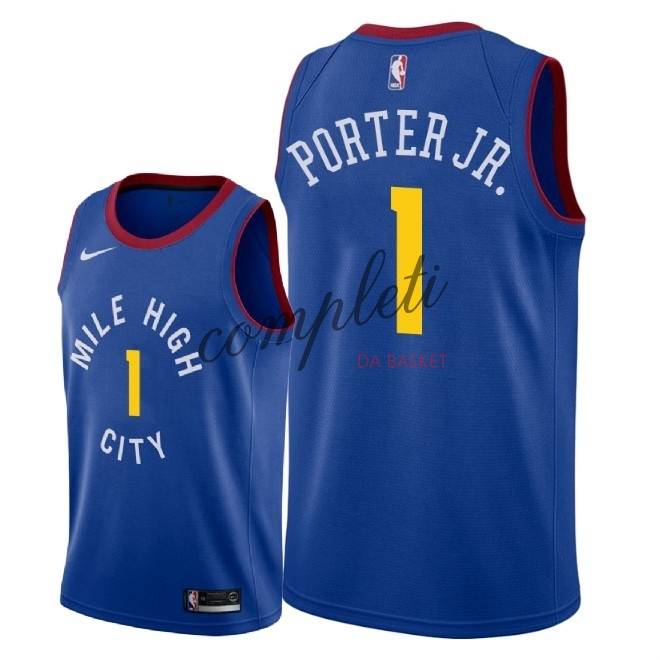 Comprare Maglia NBA Nike Denver Nuggets NO.1 Michael Porter Jr Blu Statement 2018-19