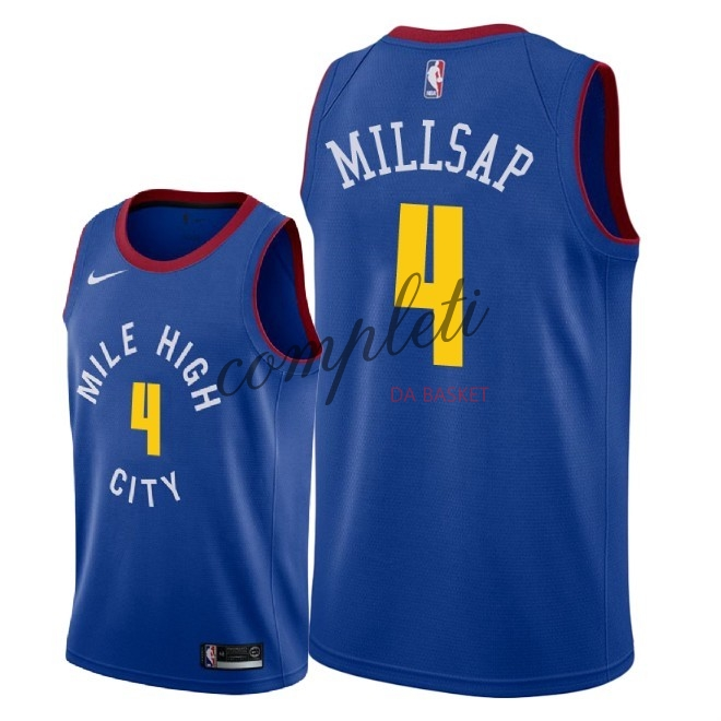 Comprare Maglia NBA Nike Denver Nuggets NO.4 Paul Millsap Blu Statement 2018-19