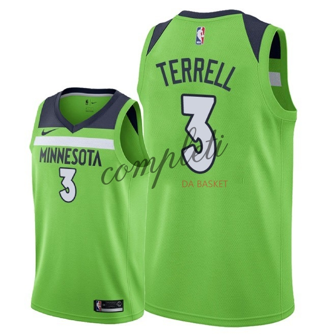 Comprare Maglia NBA Nike Minnesota Timberwolves NO.3 Jared Terrell Verde Statement 2018