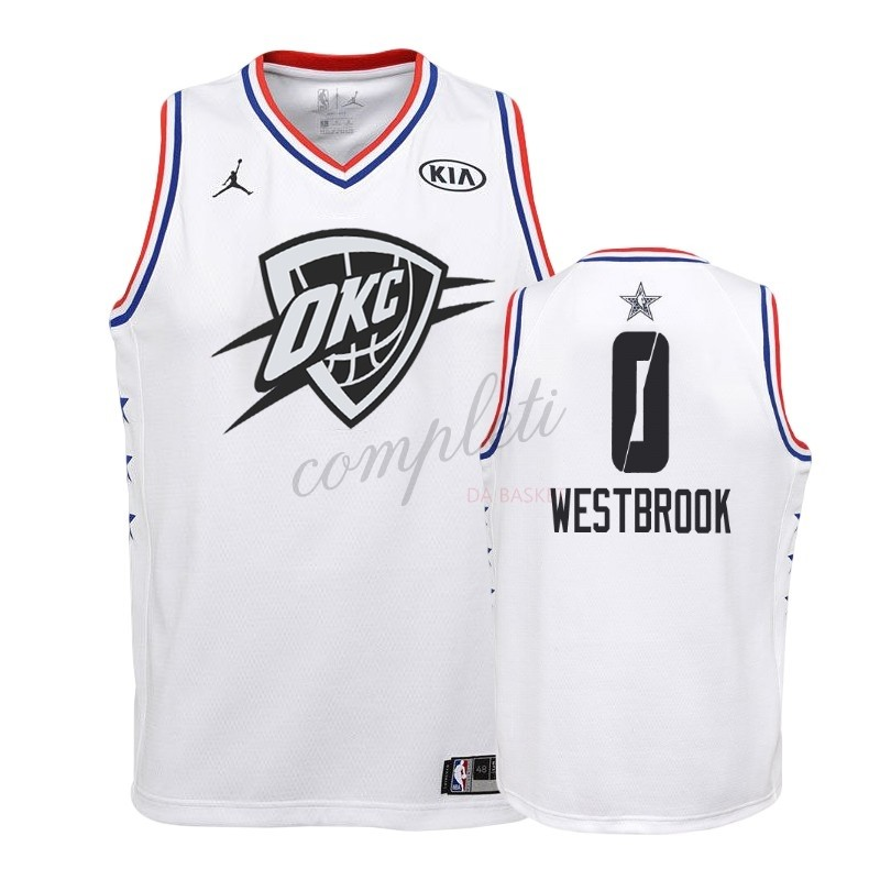 Comprare Maglia NBA Bambino 2019 All Star NO.0 Russell Westbrook Bianco