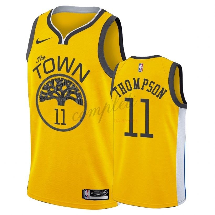 Comprare Maglia NBA Earned Edition Golden State Warriors NO.11 Klay Thompson Nike Oro 2018-19