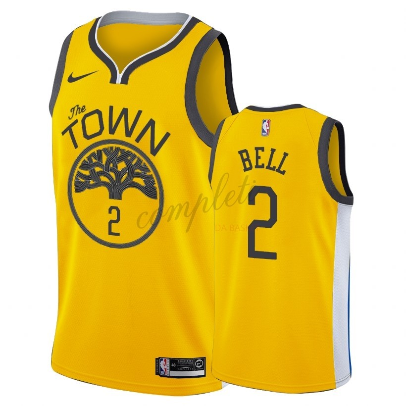 Comprare Maglia NBA Earned Edition Golden State Warriors NO.2 Jordan Bell Nike Oro 2018-19