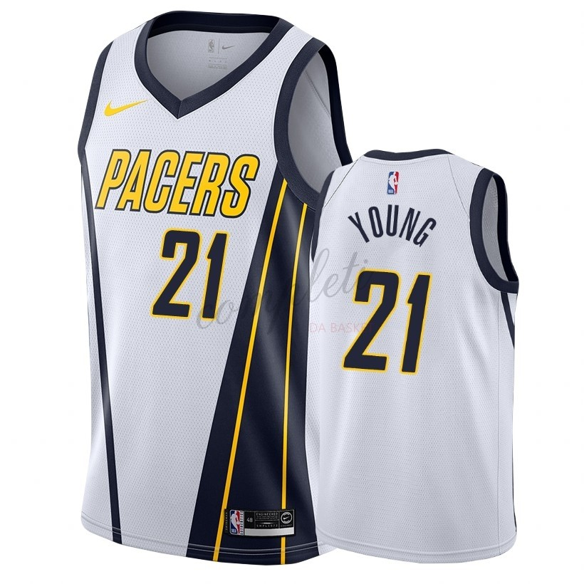 Comprare Maglia NBA Earned Edition Indiana Pacers NO.21 Thaddeus Young Bianco 2018-19