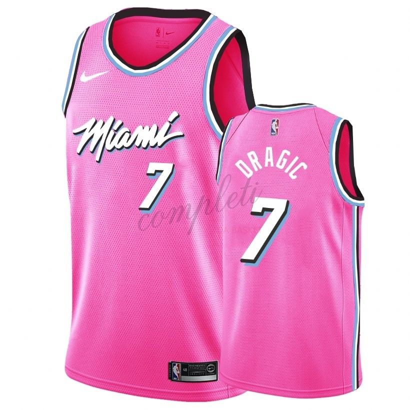 Comprare Maglia NBA Earned Edition Miami Heat NO.7 Goran Dragic Nike Rosa 2018-19