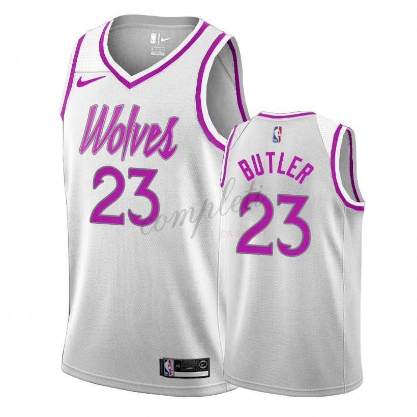 Comprare Maglia NBA Earned Edition Minnesota Timberwolves NO.23 Jimmy Butler Bianco 2018-19