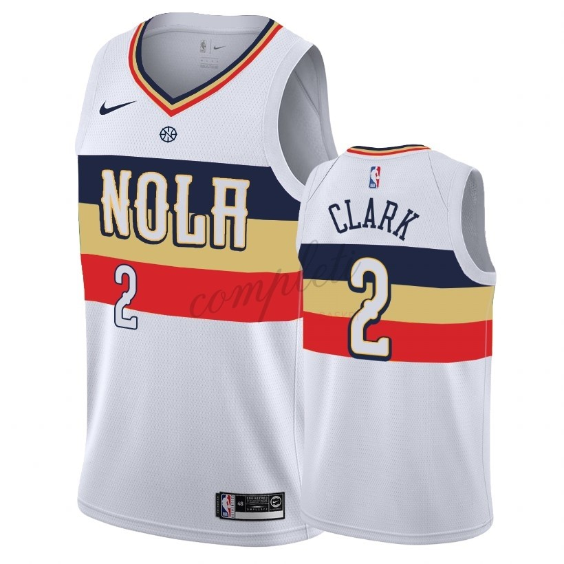 Comprare Maglia NBA Earned Edition New Orleans Pelicans NO.2 Ian Clark Bianco 2018-19
