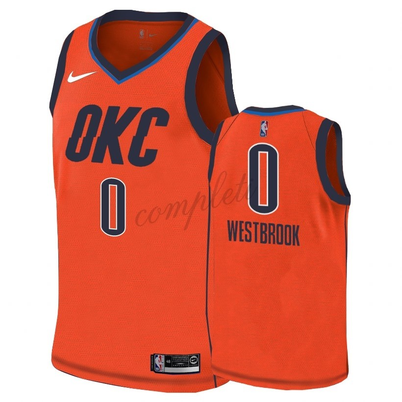 Comprare Maglia NBA Earned Edition Oklahoma City Thunder NO.0 Russell Westbrook Arancia 2018-19