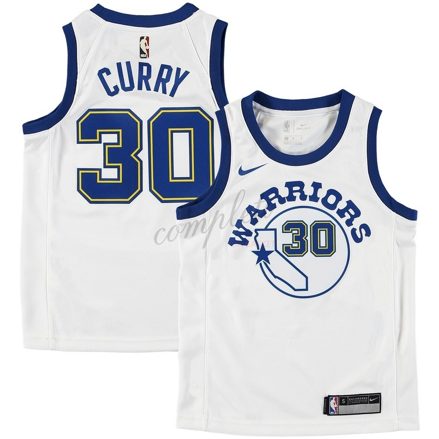 Comprare Maglia NBA Bambini Golden State Warriors NO.30 Stephen Curry Bianco Hardwood Classics