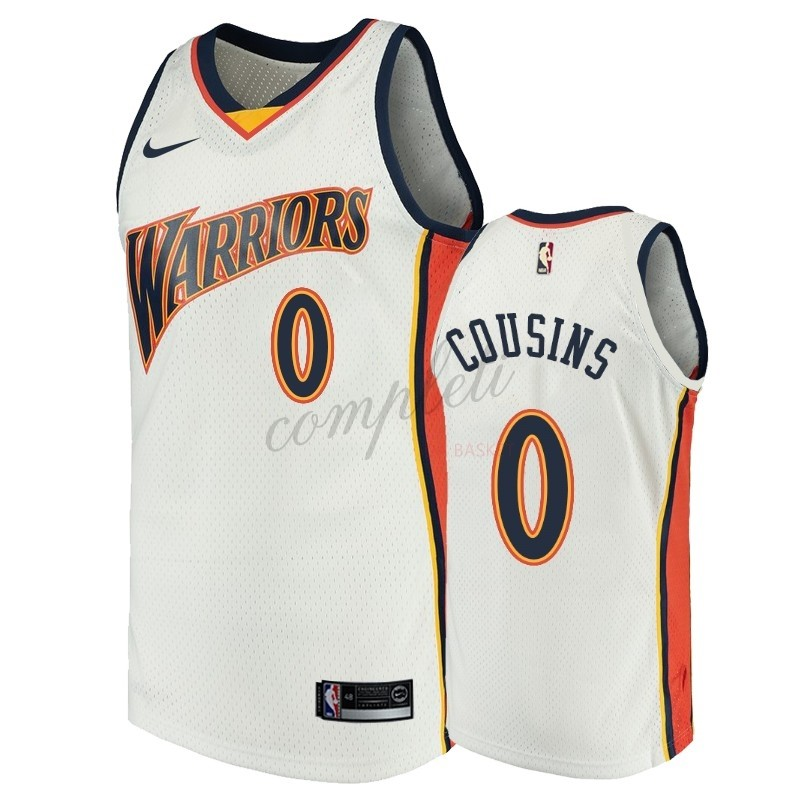 Comprare Maglia NBA Golden State Warriors NO.0 DeMarcus Cousins Bianco Throwback