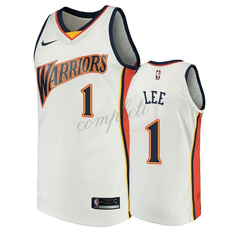 Comprare Maglia NBA Golden State Warriors NO.1 Damion Lee Bianco Throwback