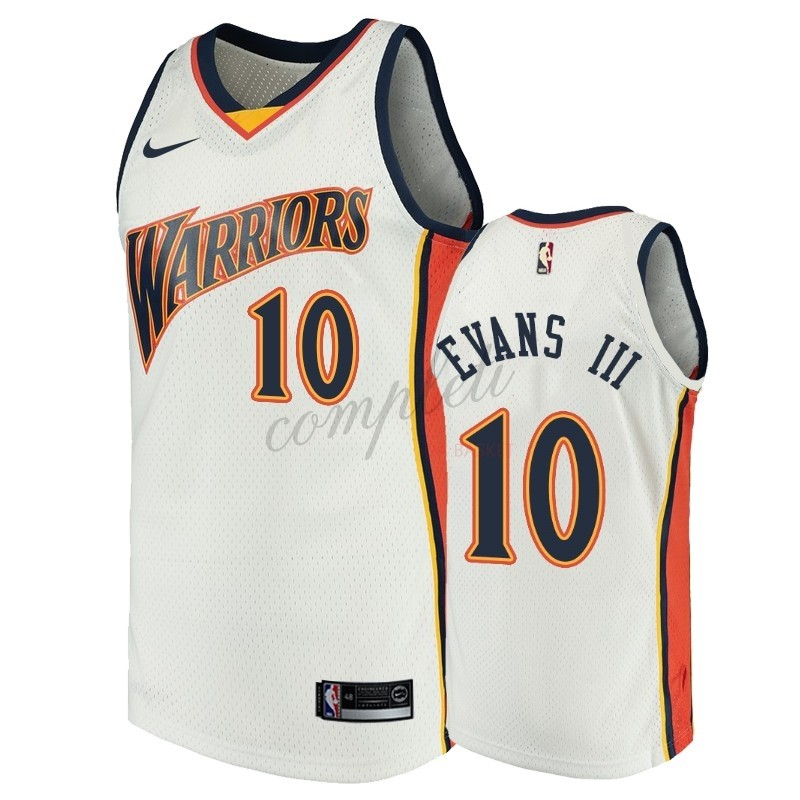 Comprare Maglia NBA Golden State Warriors NO.10 Jacob Evans III Bianco Throwback