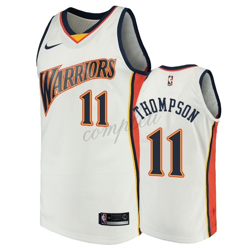 Comprare Maglia NBA Golden State Warriors NO.11 Klay Thompson Bianco Throwback